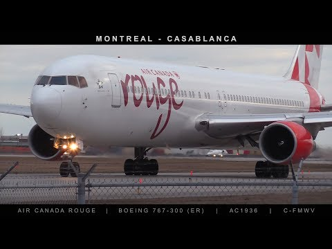 Air Canada Rouge Boeing 767 Takeoff to Casablanca from Montreal Flight AC1936