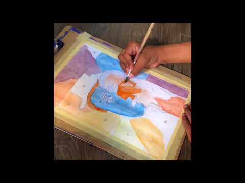Picasso Cubist Portrait Watercolor painting by Five Year Old (Time-lapse)