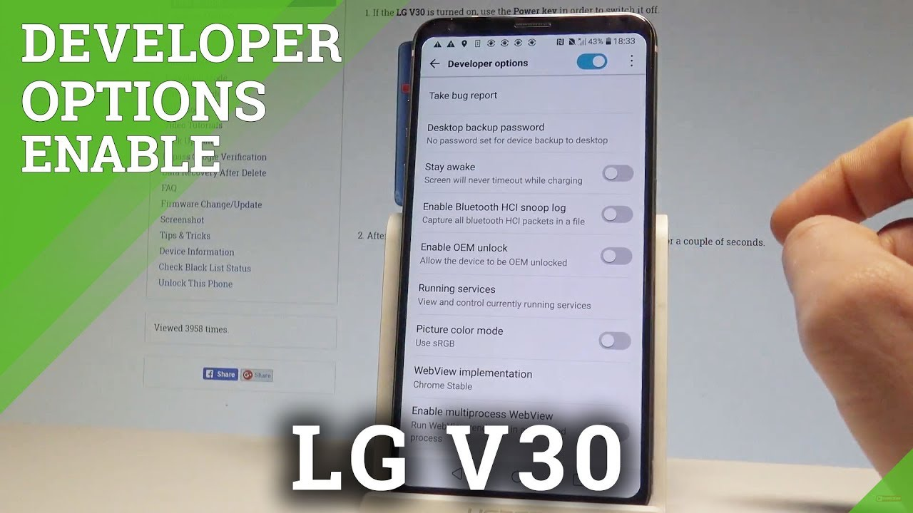 How to Enable Developer Options in LG V30 - OEM Unlock / USB Debugging  |HardReset Info