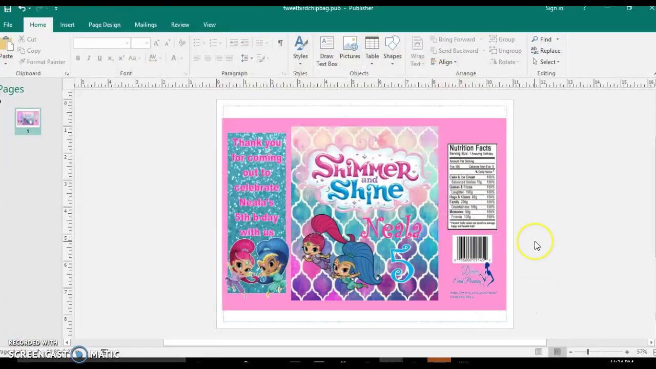 Shimmer And Shine Chip Bag Design Requested By Latoya Le Blanc