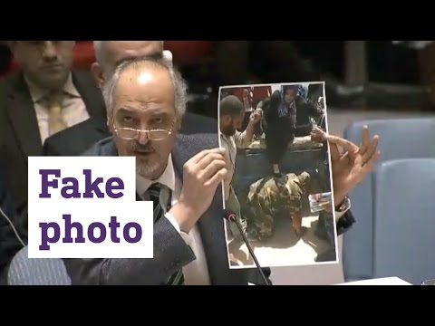 Syria's UN ambassador shows 'fake' Iraq photo as Syrian army in Aleppo