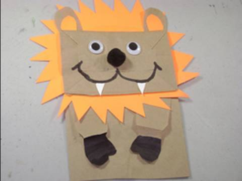 Como hacer un leon con una bolsa de papel reciclada ...