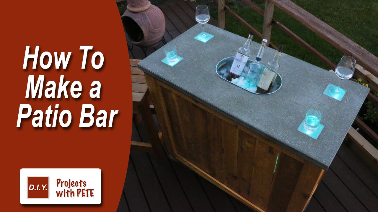 How to Make a Patio Bar - DIY Concrete Counter Bar with Wood Base ...