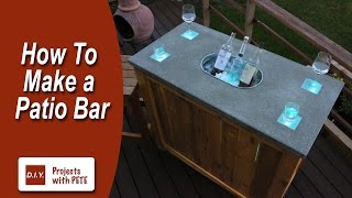 How to Make a Patio Bar - DIY Concrete Counter Bar with Wood Base
