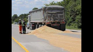 Grain hauler and dump truck collision, Hwy 3