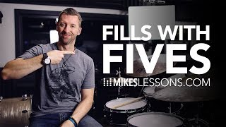 Fills with Fives - (Full Drum Lesson) Mikeslessons.com