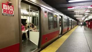 "MBTA: Red Line Trains leaving Downtown Crossing (1800 Series) with the ""Big Red"" pair (#01802-01803)"