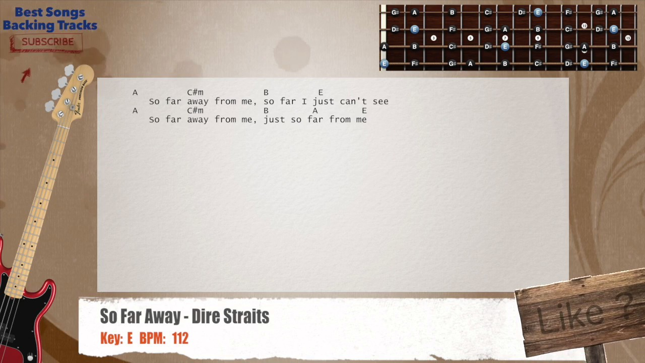 So Far Away Dire Straits Bass Backing Track With Chords And Lyrics