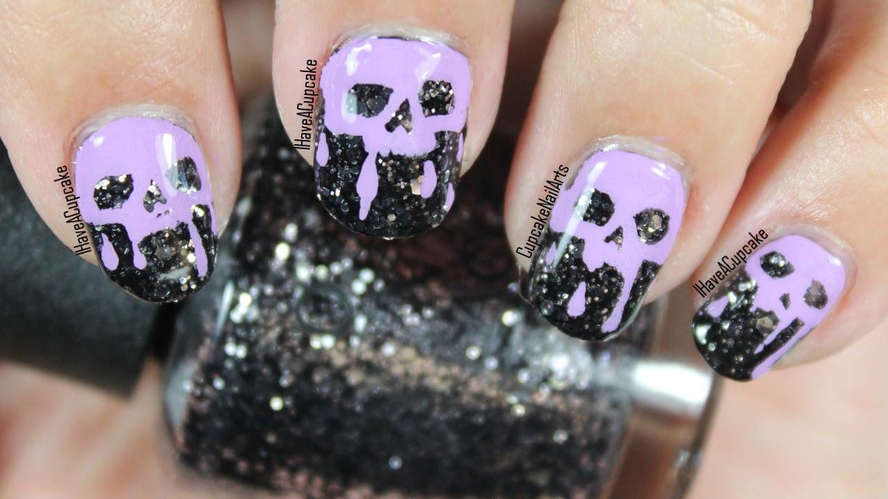 Halloween Nails - Halloween Nail Art * Dripping Skulls ...