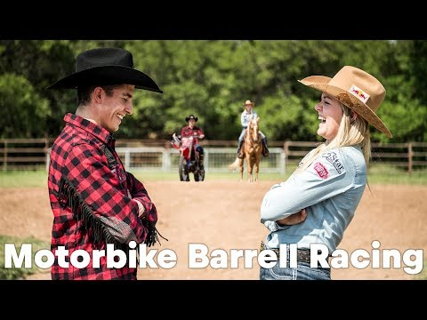 HORSEPOWER SHOWDOWN: Marc Marquez barrel racing against Jackie Ganter