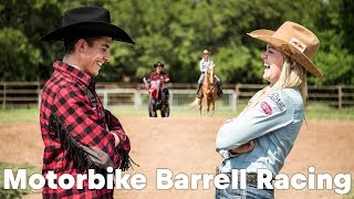 HORSEPOWER SHOWDOWN: Marc Marquez barrel racing against Jackie Ganter
