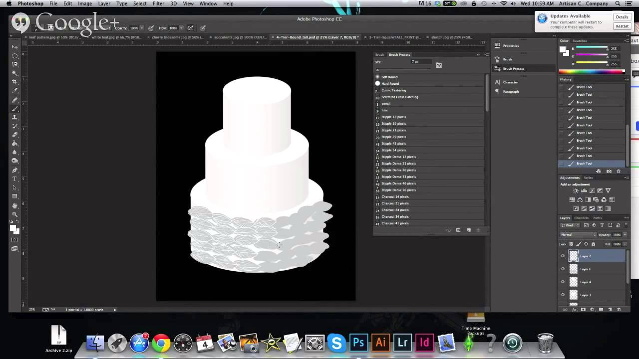 Using Photoshop to make cake sketches - YouTube