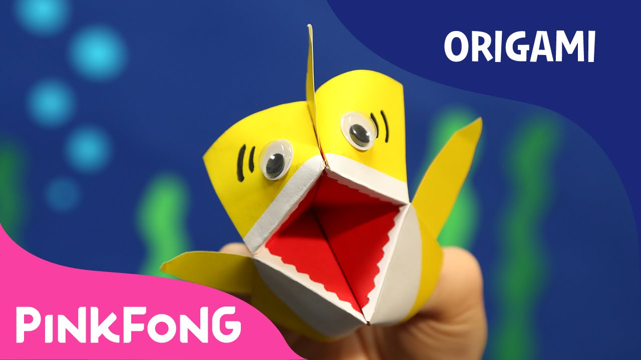 how to make an origami baby shark puppet animal song