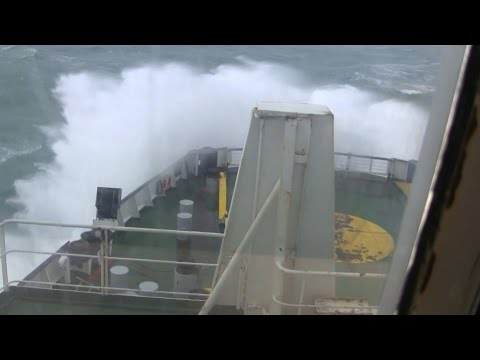 English channel ferry crossing in gale