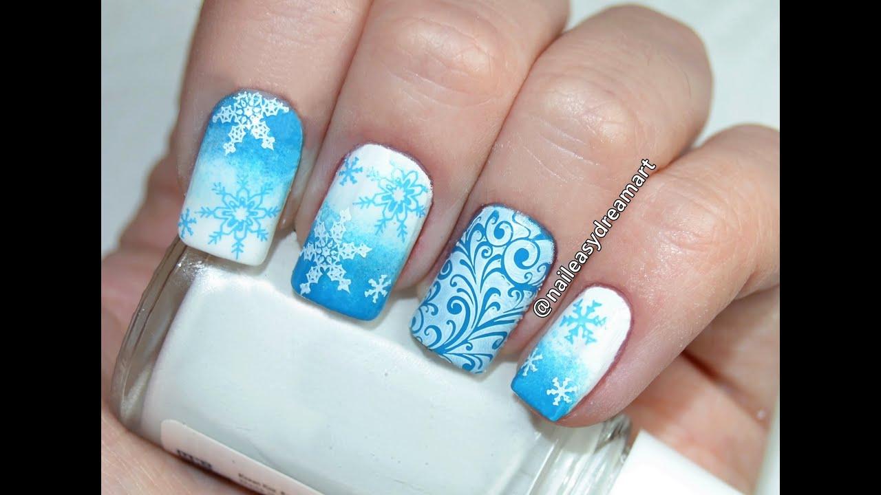 diy christmas nails snowflakes nail art tutorial youtube. Black Bedroom Furniture Sets. Home Design Ideas