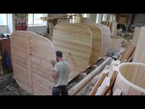 Изготовление кедровой бани-бочки квадратной формы.