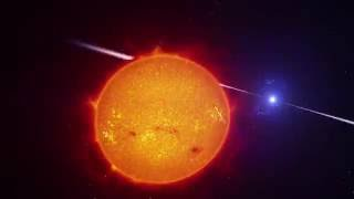 This artist's impression video shows the strange object AR Scorpii. In this unique double star a rapidly spinning white dwarf star powers electrons up to almost the speed of light. These high energy p