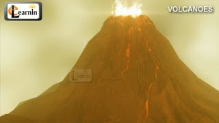 Volcanoes and types of volcanic eruptions | Volcano video with hot magma lava in 3D animation HD