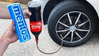 COCA COLA vs MENTOS in a CAR TIRE