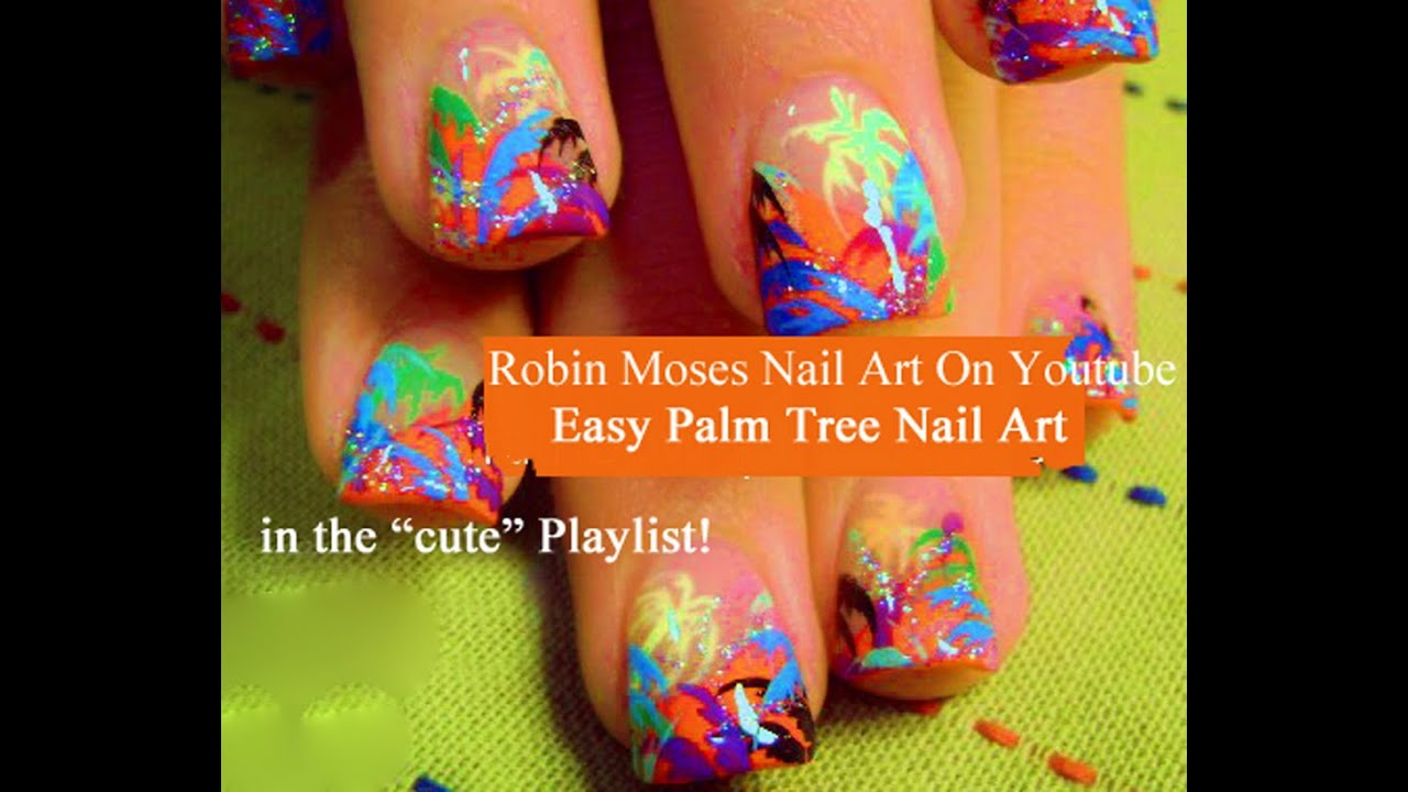 Neon Nail Art! Easy Palm Tree Nails with Glitter for ...