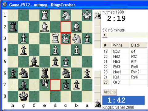 1.e3 Van't Kruijs transposing to English Opening : LIVE Blitz (Speed) Chess #134 vs. nutmeg (1909) -