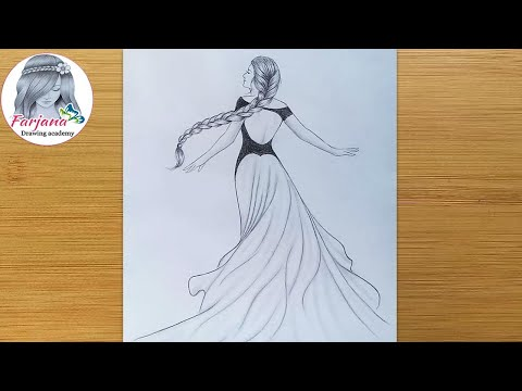 Princess Drawing Pencil Sketch How To Draw A Girl With Beautiful Dress And Long Hair Youtube
