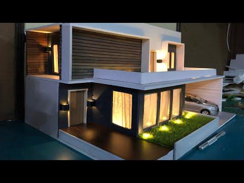 DIY Miniature Modern Villa Model House | Miniature Bungalow 1:32 Diorama With Lighting