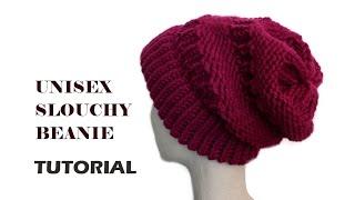 Repeat youtube video Unisex Slouchy Beanie Tutorial  [Loom Knitting]