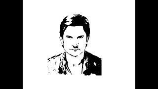 How to Draw Sushant Singh Rajput face pencil drawing step by step