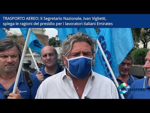 Il Sgr Nazionale, Ivan Viglietti, spiega le ragioni del presidio per i lavoratori italiani Emirates