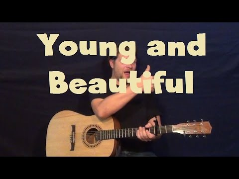 Young and Beautiful (Lana Del Rey) Easy Guitar Lesson Strum Chord  How to Play
