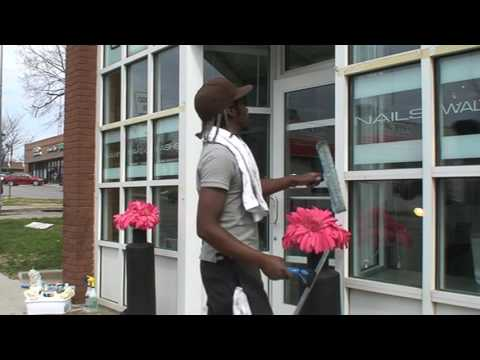 Window cleaning at a Nail Salon