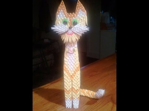 How to make 3D origami yellow cat