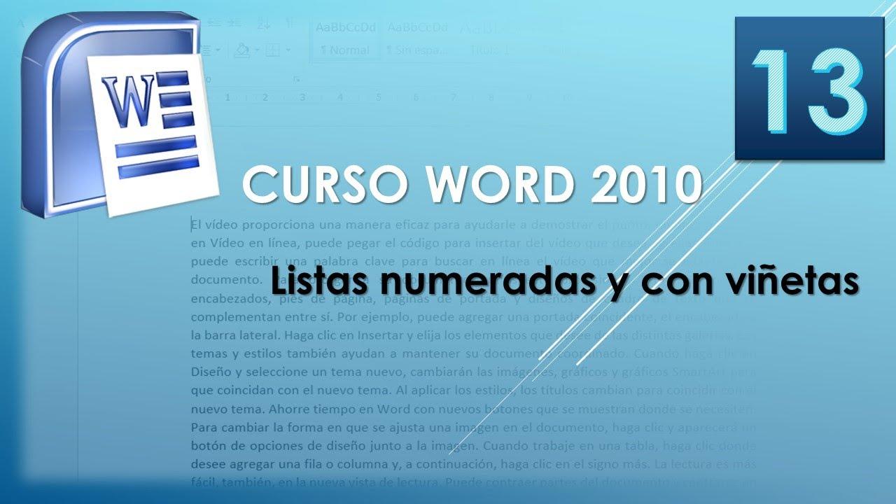 Download Curso Word 2010 AV. Listas numeradas y con viñetas. Vídeo 13