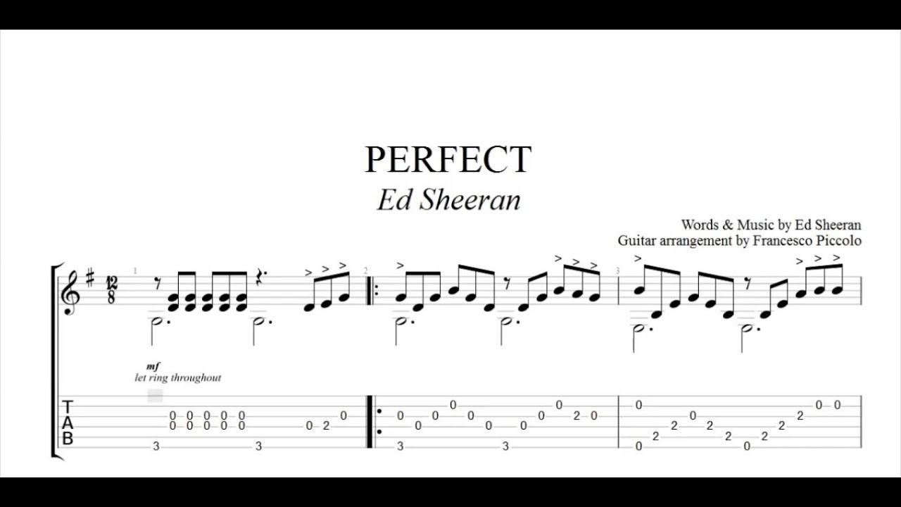 fingerstyle guitar tab ed sheeran perfect from hits collection youtube. Black Bedroom Furniture Sets. Home Design Ideas