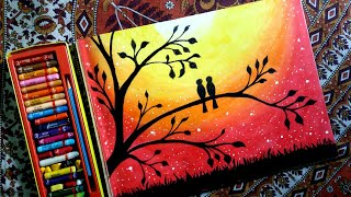 How to draw LOVEBIRDS in a sunset  by oil pastel step by step.