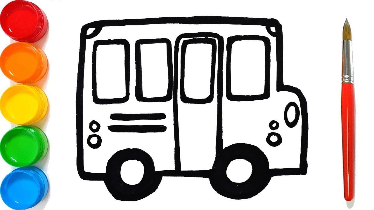 Draw Toy School Bus Vẽ và Tô Màu Xe Bus Trường Học Đồ Chơi Cho Bé, Dạy Bé Học Vẽ   Little Pea ☆