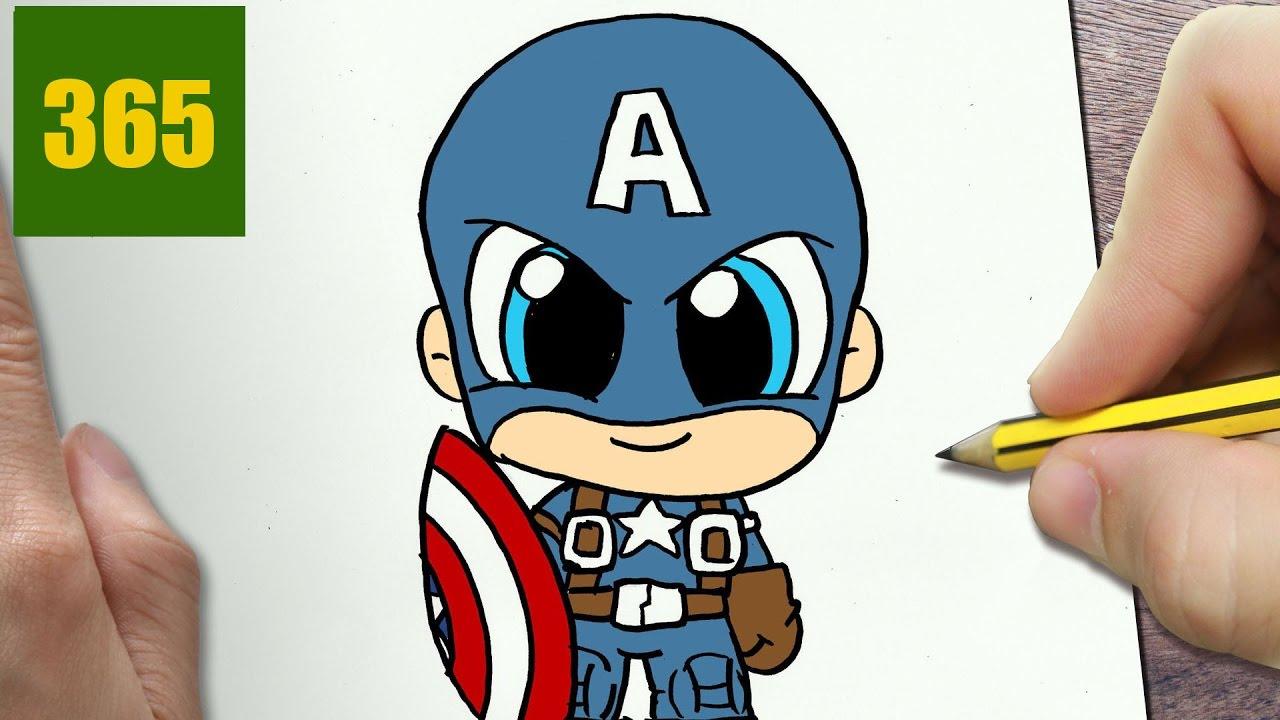 Come Disegnare Capitano America Kawaii Passo Dopo Passo Disegni