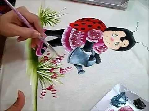 Pintura Em Tecido Joaninha Flor Artcamargo