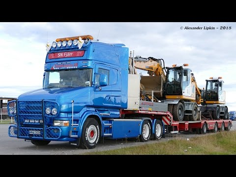 Scania T164-480 V8 Loaded with Liebherr excavators (Straight pipes) - YouTube