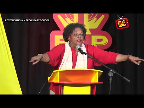 Mia Amor Mottley, Q.C., M.P. at the Community Meeting in St. Thomas
