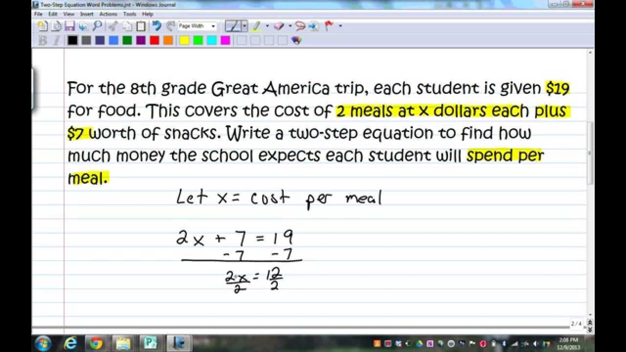 Two Step Equation Word Problems Youtube