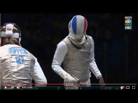 France's Lefort loses his phone during a fencing tie-up