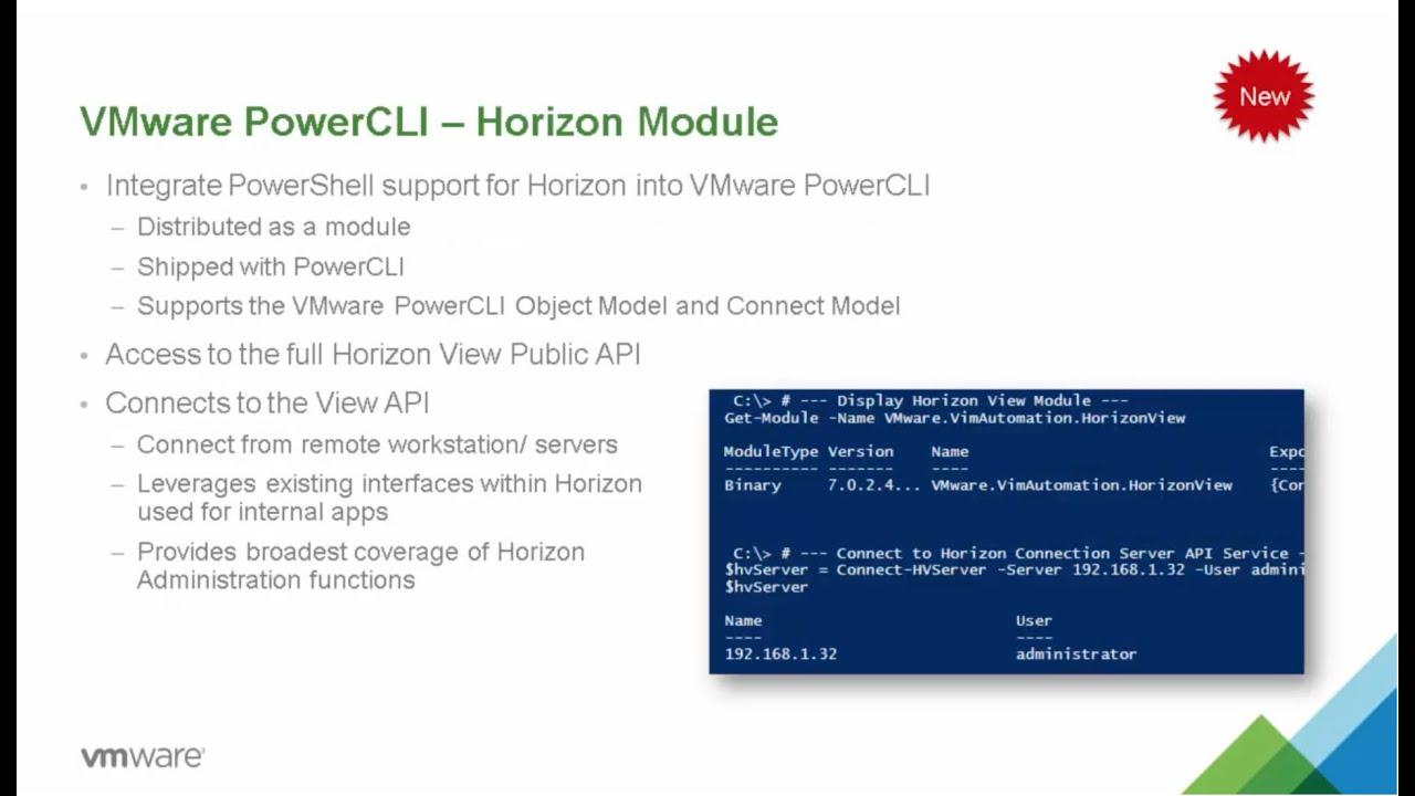 VMware Horizon 7: Power CLI - Feature Walk-through