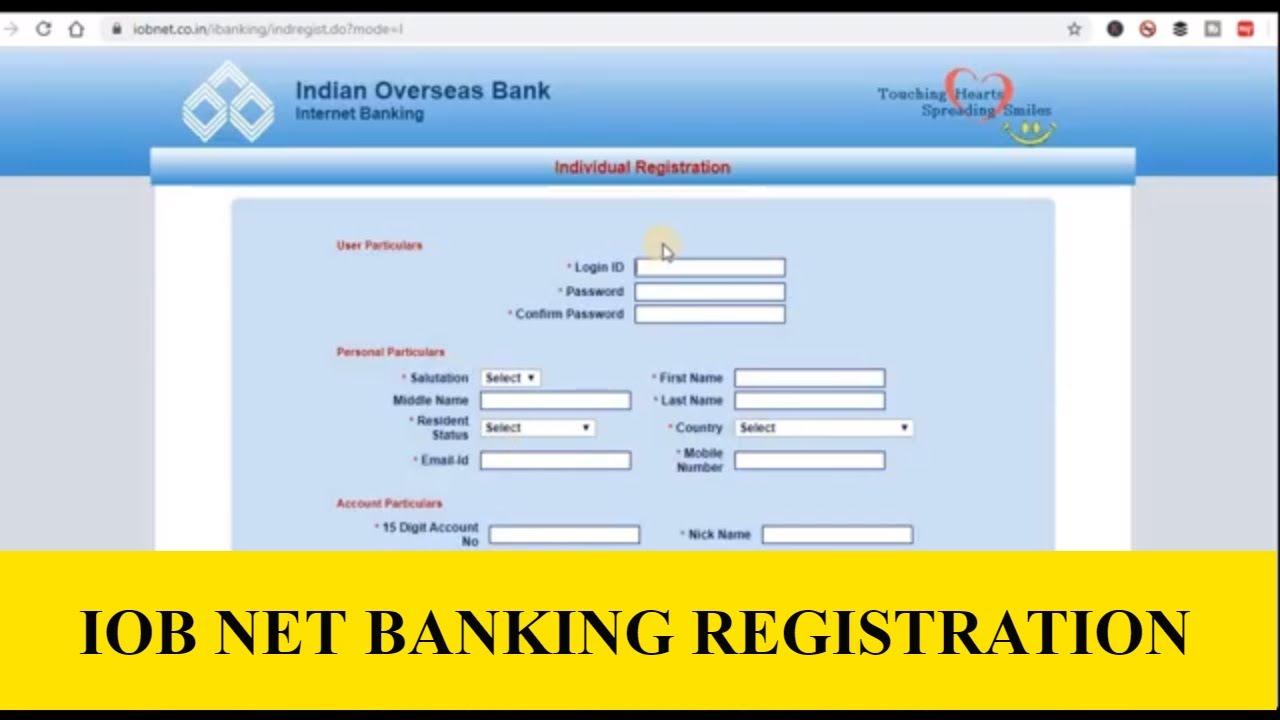 iob net banking online register