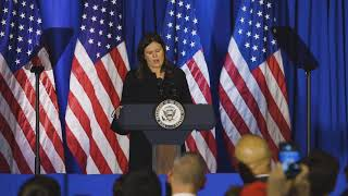 Former White House Press Secretary Sarah Sanders campaigns for Trump in Michigan