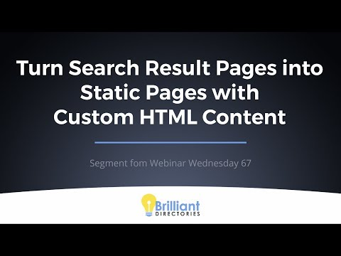 Convert Search Result Pages Into Static Pages With Custom HTML Content