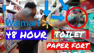 48 HOUR OVERNIGHT TOILET PAPER FORT IN WALMART! INSANE FORT AND GOT KICKED OUT Inspired by morejstu