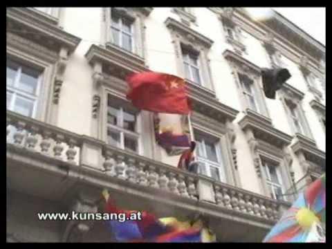 Tibet Uprising - Tibet Flag on China Embassy