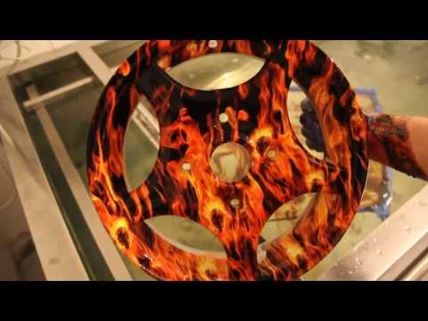 Hydrodipping alloy wheel in flames pattern